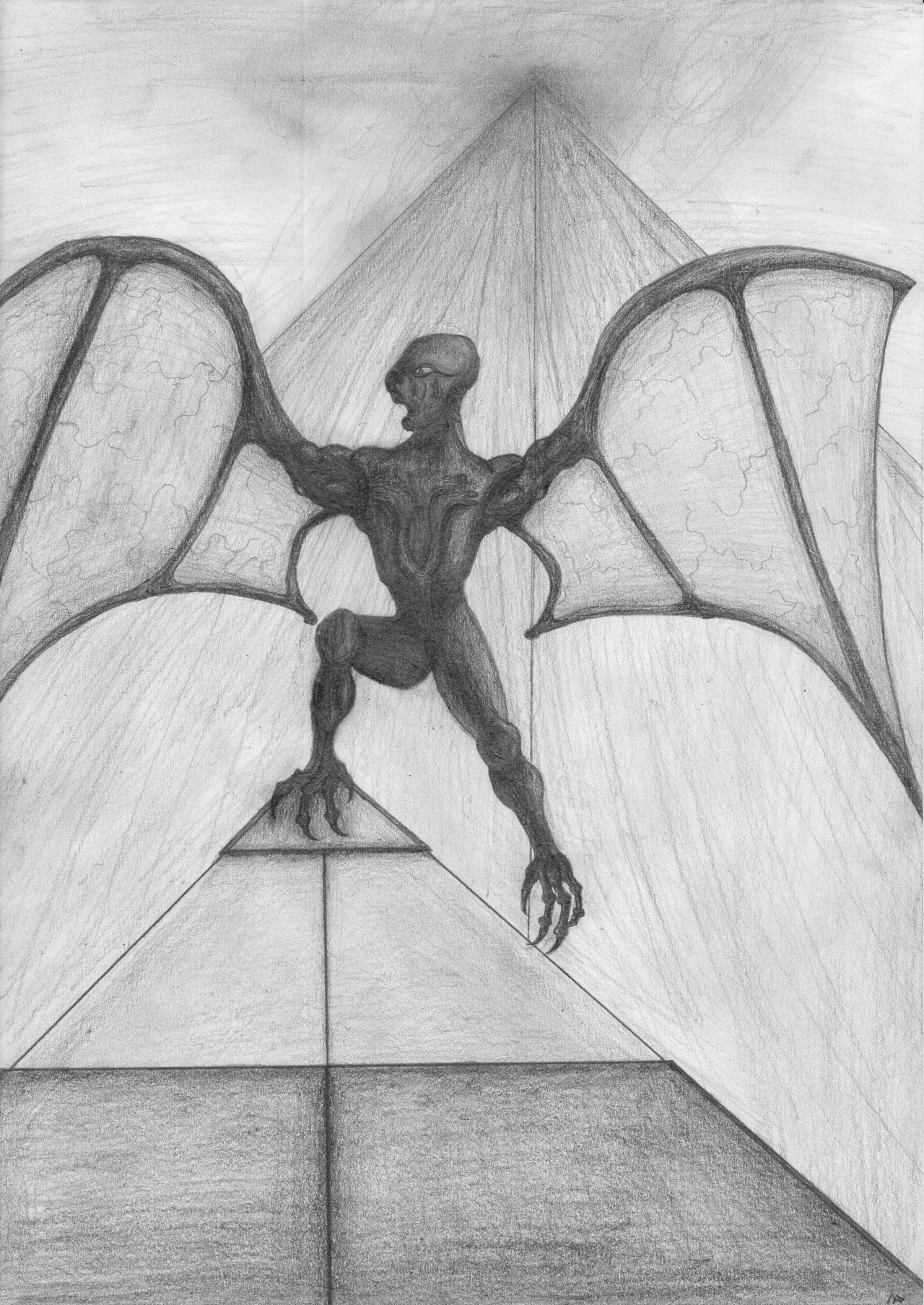 Winged alien drawing
